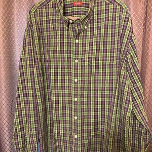 Men's purple and green plaid shirt